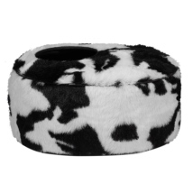 Oval Pet Basket Cow Pattern - Blck/White 40x30x20cm
