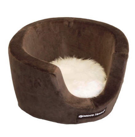 Cosy Velour Basket w Fur Cushion - Brown 43x25cm