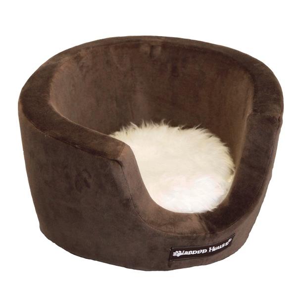 Cosy Velour Basket w Fur Cushion - Brown 43x25cm