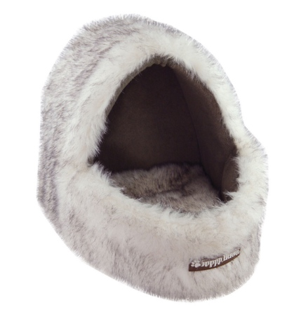 Pet Cradle with Fur - White