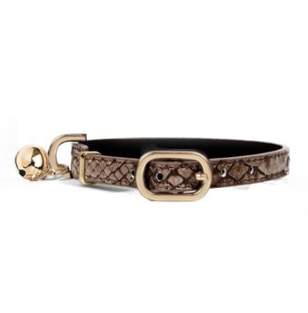 Cat Collar Cobra - Brown  Length:22-27cm Tot:30cm Width:1cm