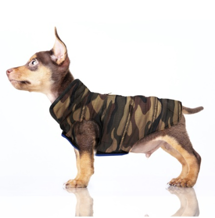 Ethan Reversible Coat w Harness Hole - Camo and Blue