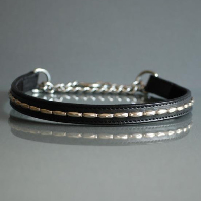 BLACK HALF CHECK COLLAR - LEATHER W SOFT RIVETS