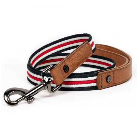 Heritage Striped Leash - Navy/White/Red  - Navy/White/Red