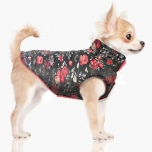Rose Reversible Coat w Harness Hole - Roses/Black and Pink