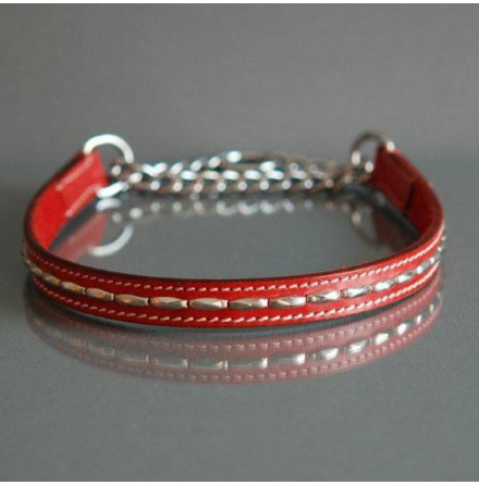 RED HALF CHECK COLLAR - LEATHER W SOFT RIVETS