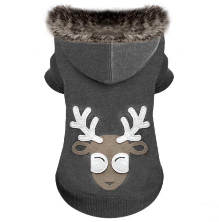 Reindeer Hoodie with Fur Brim - Grey