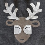 Reindeer Hoodie with Fur Brim - Grey