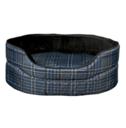 Leeroy Cheched Oval Bed - Black/Blue