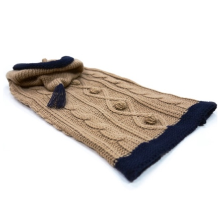 Ethan Cable Sweater w Hooddie w buttons  - Beige/Navy Blue 33cm
