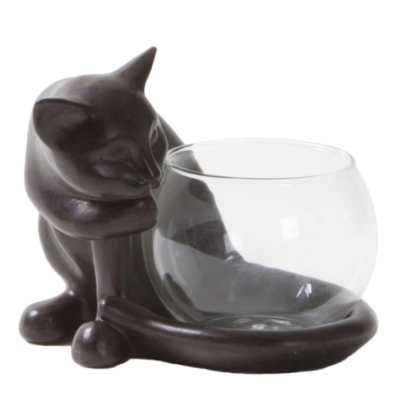 Tealight Holder Cat - Brown 13,5x13x12 cm
