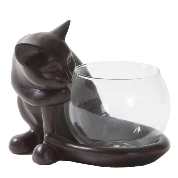 Tealight Holder Cat - Brown 13,5x13x12 cm