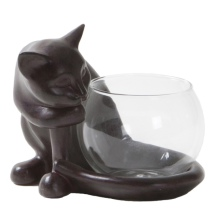 Tealight Holder Cat - Brown