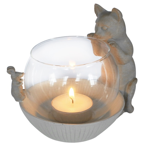 Tealight Holder Cat and Mouse - Beige 14x11x12cm