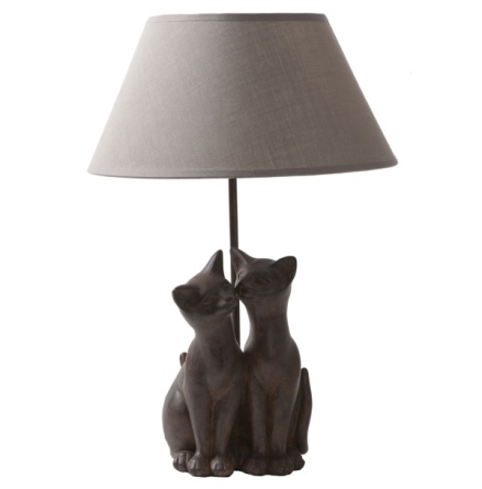 Cat Lamp 2 Cats - Brown/Taupe 47x30x30cm
