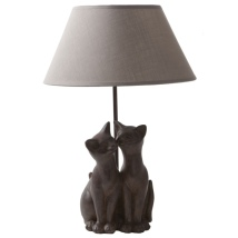Cat Lamp 2 Cats - Brown/Taupe
