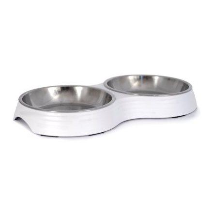 Low Double Food Bowl Amy - White 28x15x3cm