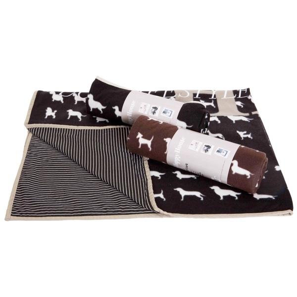 Fleece Blanket w Dog Print - Brown 170x130cm