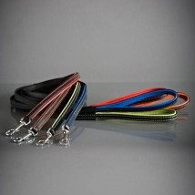 LEASH BLACK AND GREEN LEATHER