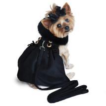 Caroline Wool coat w Fur Collar w leash - Black 27 cm