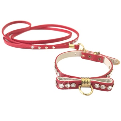 Collar and Leash Set Jewel Bow - Red