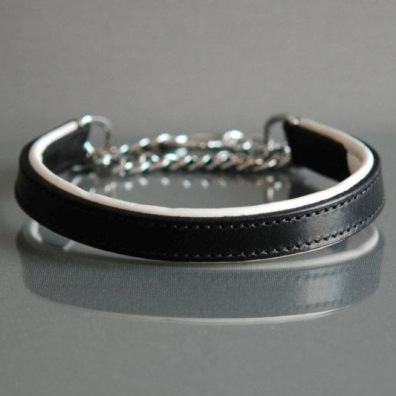 BLACK/WHITE HALF CHECK COLLAR - LEATHER