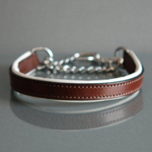 BROWN/WHITE HALF CHECK COLLAR -  LEATHER