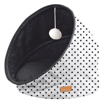 Pet Bed & Play Foldable Cave w Dots - White/Black 44x44x48cm