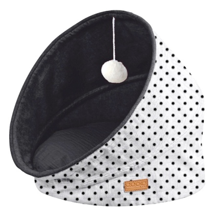 Pet Bed & Play Foldable Cave w Dots - White/Black 44x44x48cm