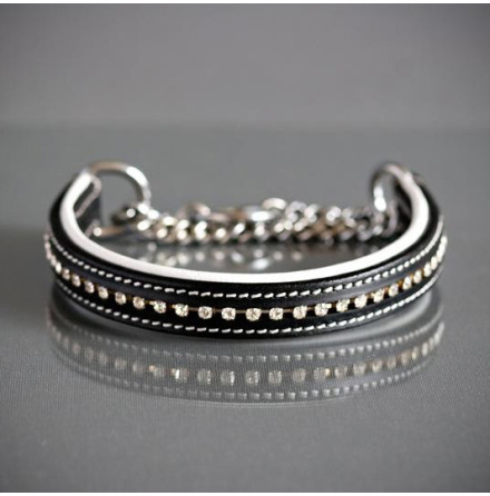 BLACK/WHITE HALF CHECK COLLAR - LEATHER W RHINESTONES