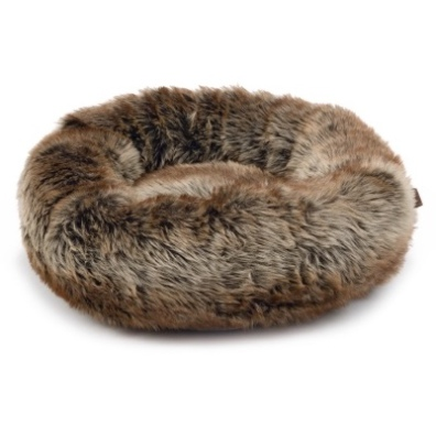 Pet Bed Round Warm and Fluffy Fur - Brown 45x45x20cm