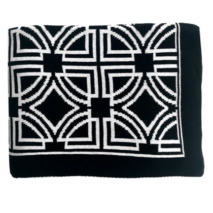 Genoa Thick Throw - Black/White 150x125cm