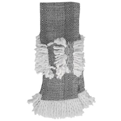Saron Thick Knitted Throw - Black/White 150x125cm