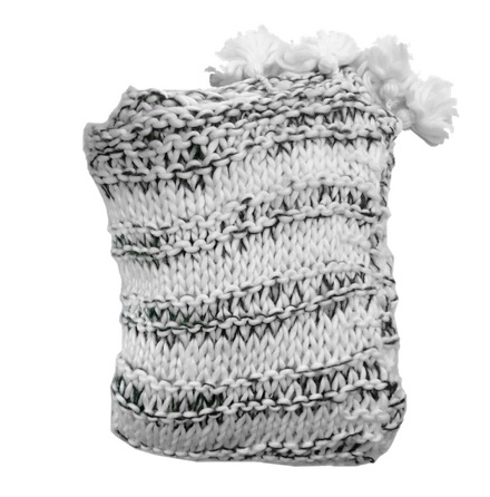 Lucca Thick Throw Super Chunky Knitted w Ponpons - 150x125cm White/Grey