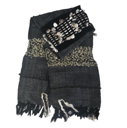 Throw Tankwa Handknitted - Black/Beige 170x130cm
