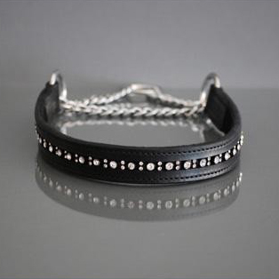 BLACK HALF CHECK COLLAR - LEATHER W RHINESTONES