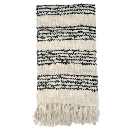Varanasi Knitted Cotton Throw with Thin Black Stripes - Beige 150x125cm