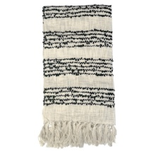 Varanasi Knitted Cotton Throw with Thin Black Stripes - Beige 150x125cm