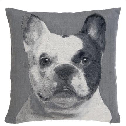 Cushion Cover French Bulldog Head - Grey 45x45cm