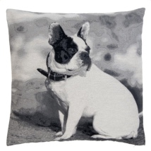 Cushion Cover French Bulldog  Looking to the Right - Grey 45x45cm