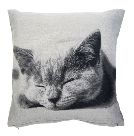 Cushion Cover Sleeping Cat - Grey 45x45cm