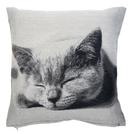 Cushion Cover Sleeping Cat - Grey 45x45cm