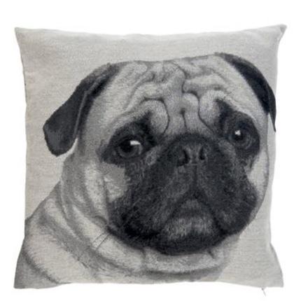 Cushion Cover Pug Head- Grey/Beige 45x45cm