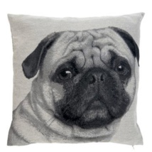 Cushion Cover Pug Head- Grey/Beige 45x45cm