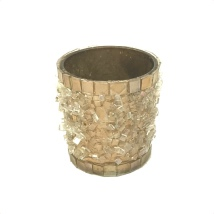 Candle Holder Sprinkled Glass - Gold  aprox Hight:6cm Diam:6cm