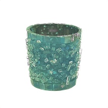 Candle Holder Sprinkled Glass - Light Blue  aprox Hight:6cm Diam:6cm