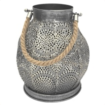 Metal Lantern with Rope Handle - Grey  Hight:24 Width:21cm