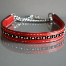 RED HALF CHECK COLLAR - LEATHER W RHINESTONES