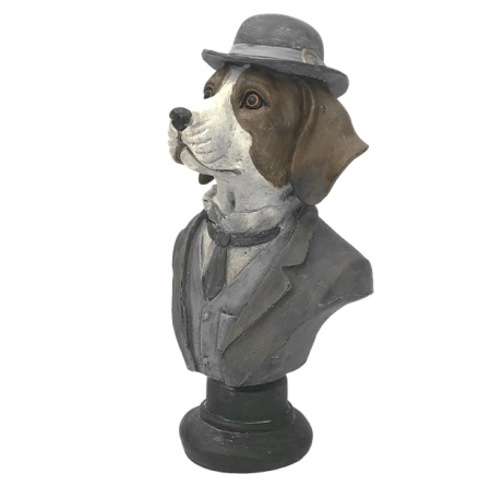 Statue Dog Bust on Black Base w Blue Hat - 24x13cm