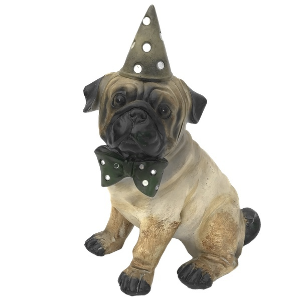 Statue Festival Dog with Hat and Bow - Pug 24cm
